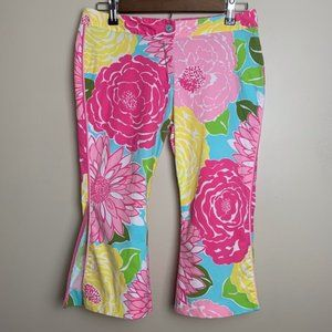 Lily Pulitzer bright spring floral flare crop